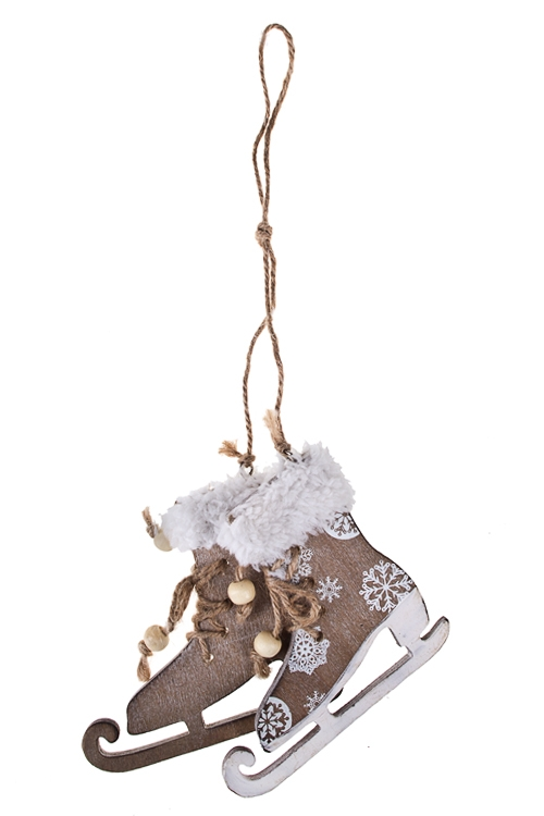 Украшение декоративное КонькиЕлочные игрушки<br>11*10см, дерево, крем., подвесное<br>