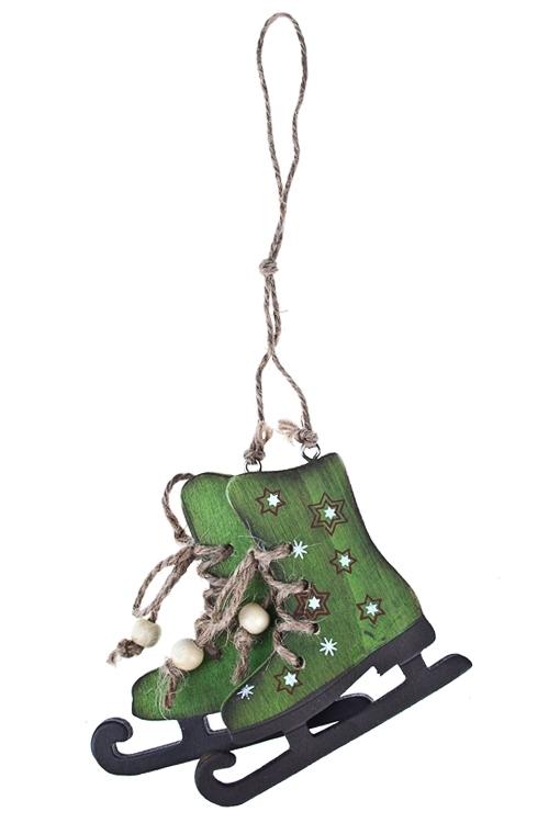 Украшение декоративное КонькиЕлочные игрушки<br>10*9см, дерево, крем.-зеленое, подвесное<br>