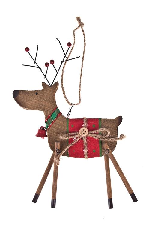 Украшение декоративное Милый оленьЕлочные игрушки<br>21*14см, дерево, подвесное<br>
