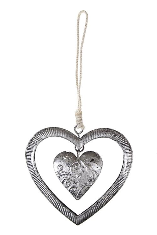 Украшение декоративное Двойное резное сердцеЕлочные игрушки<br>Выс=8см, металл, серебр., подвесное<br>