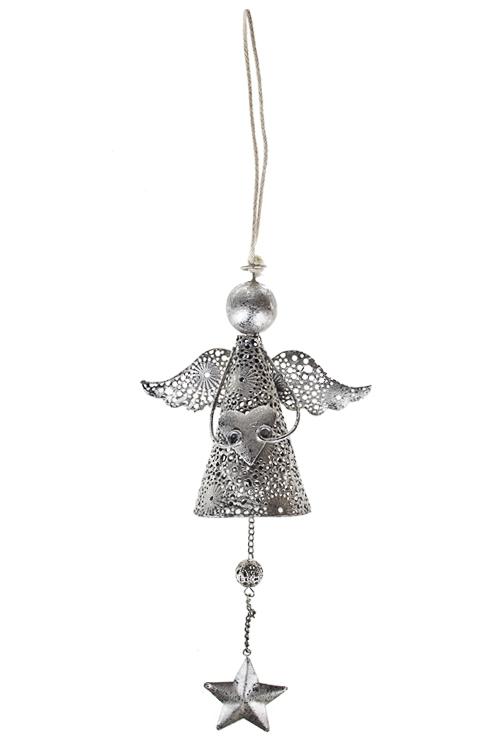 Украшение декоративное Резной ангелочек с сердечкомЕлочные игрушки<br>Выс=22см, металл, серебр., подвесное<br>