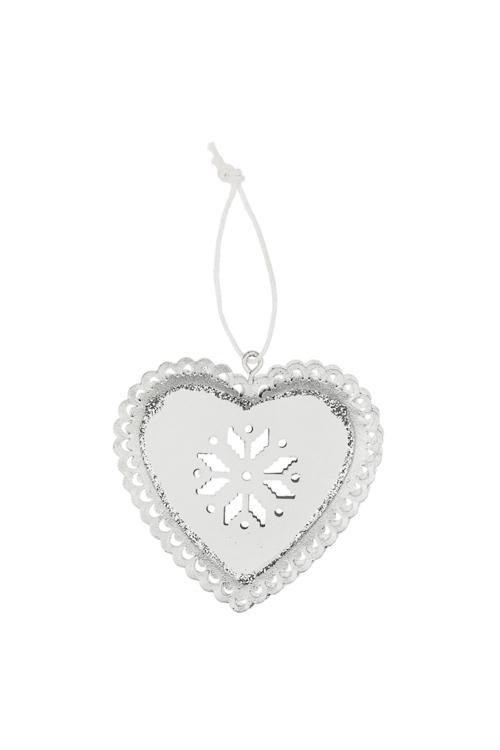 Украшение декоративное Сердце со снежинкойСувениры и упаковка<br>Выс=7см, металл, бело-серебр., подвесное (2 цвета)<br>