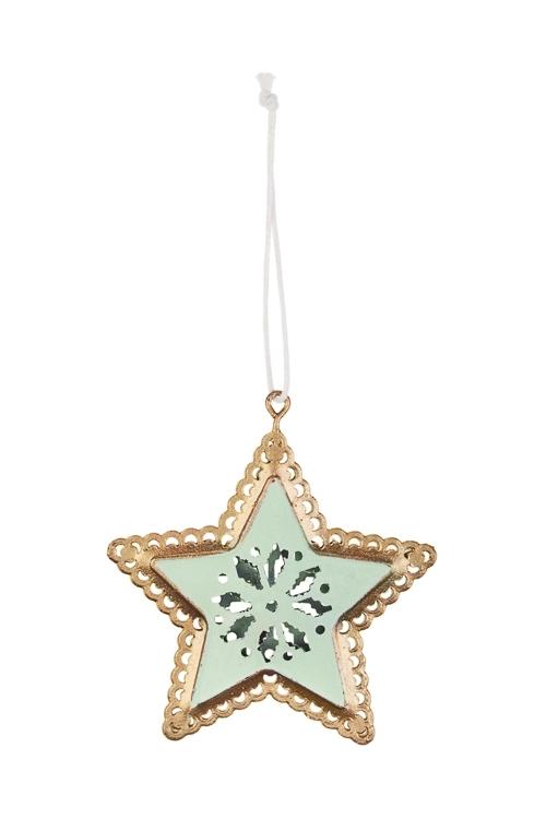 Украшение декоративное Звезда со снежинкойСувениры и упаковка<br>Выс=7см, металл, мятно-золот., подвесное<br>