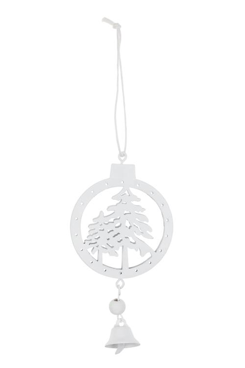 Украшение декоративное Зимний лесСувениры и упаковка<br>12*6см, металл, белое, подвесное<br>