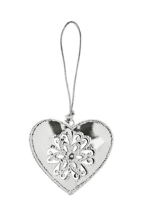 Украшение декоративное Сердечко со снежинкойДекоративные гирлянды и подвески<br>8*7.5см, металл, серебр., подвесное<br>