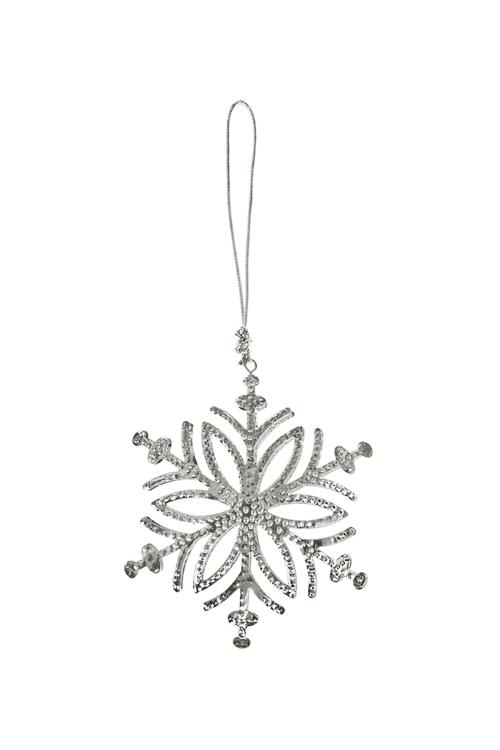Украшение декоративное Прекрасная снежинкаСувениры и упаковка<br>11.5*10.5см, металл, серебр., подвесное (2 вида)<br>