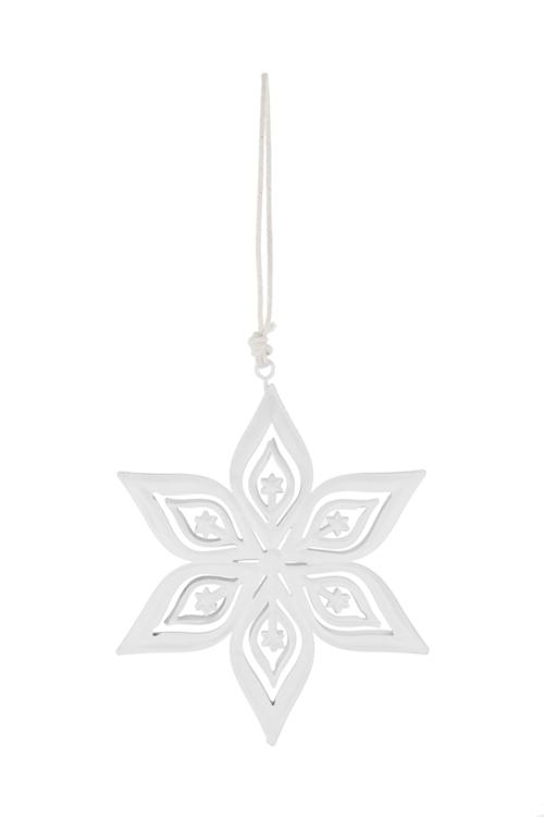 Украшение декоративное СнежинкаДекоративные гирлянды и подвески<br>Выс=12см, металл, белое, подвесное<br>
