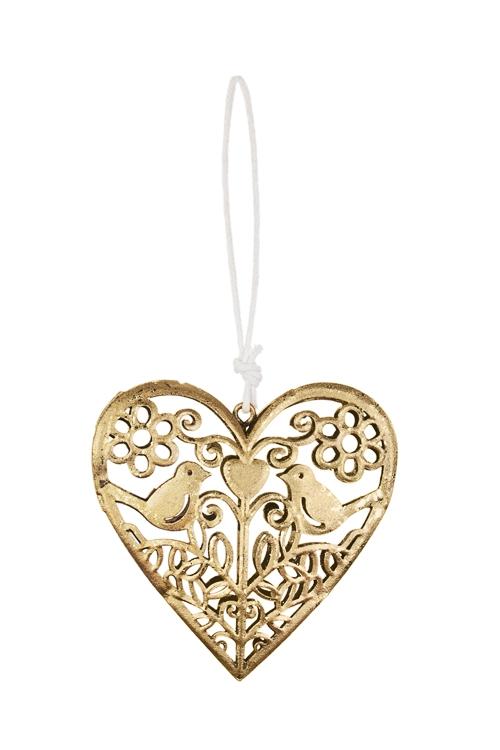Украшение декоративное Влюбленные птичкиСувениры и упаковка<br>9*8.5см, металл, золот., подвесное<br>