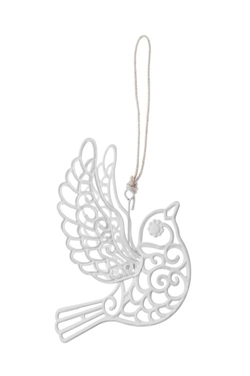 Украшение декоративное Ажурная птичкаДекоративные гирлянды и подвески<br>13*13см, металл, белое, подвесное<br>
