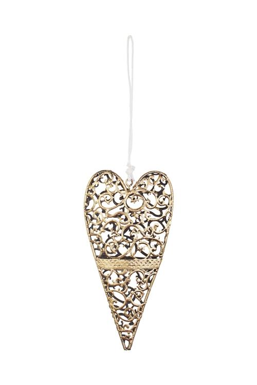 Украшение декоративное Ажурное сердцеДекоративные гирлянды и подвески<br>15.5*7см, металл, золот., подвесное<br>