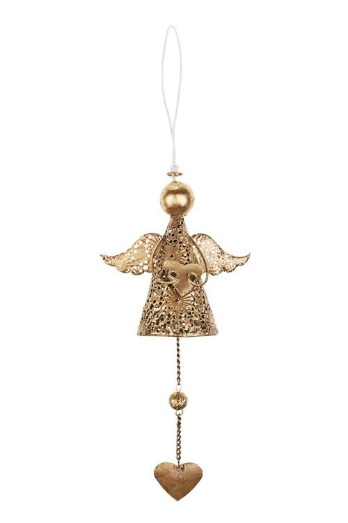 Украшение декоративное Резной ангелочек с сердечкомСувениры и упаковка<br>Выс=25см, металл, золот., подвесное<br>