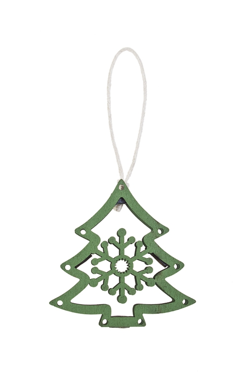 Украшение декоративное Елочка со снежинкойДекоративные гирлянды и подвески<br>7*7см, дерево, зеленое, подвесное<br>
