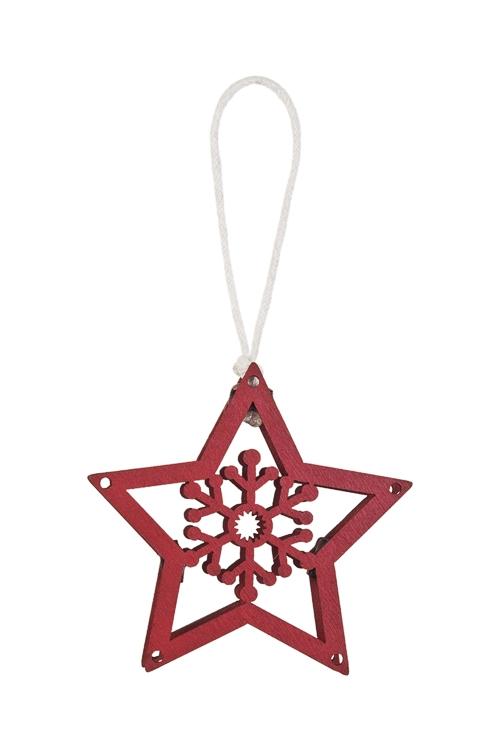 Украшение декоративное Звездочка со снежинкойСувениры и упаковка<br>8*8см, дерево, красное, подвесное<br>