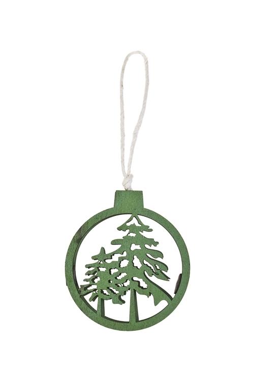 Украшение декоративное Зимний лесСувениры и упаковка<br>7*6см, дерево, зеленое, подвесное<br>
