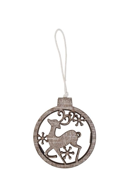 Украшение декоративное Гордый оленьСувениры и упаковка<br>7*6см, дерево, коричн.-серое, подвесное<br>