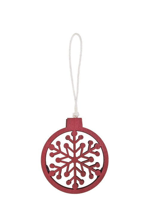Украшение декоративное СнежинкаДекоративные гирлянды и подвески<br>7*6см, дерево, красное, подвесное<br>