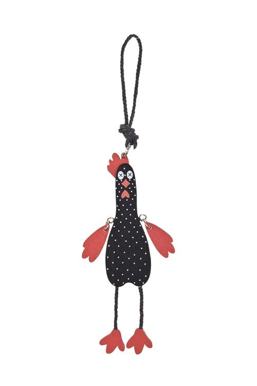 Украшение декоративное ПетушокСувениры и упаковка<br>14*3см, дерево, черно-красное, подвесное<br>