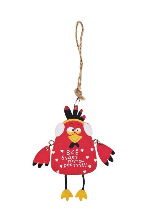 Украшение декоративное Веселый цыпленокДекоративные гирлянды и подвески<br>12*5см, дерево, черно-красное, подвесное<br>