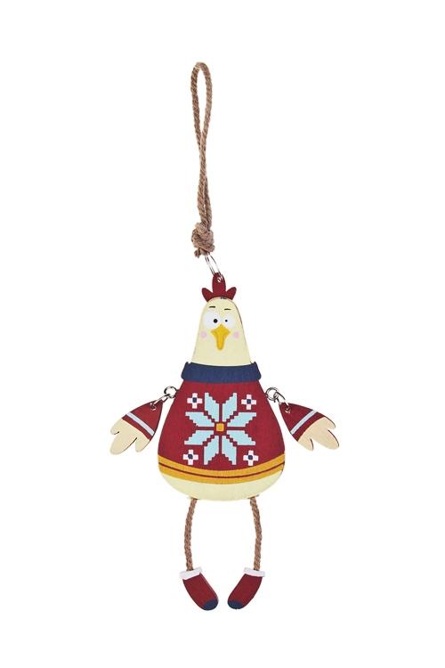 Украшение декоративное Норвежский петушокСувениры и упаковка<br>13.5*5см, дерево, желто-борд., подвесное<br>
