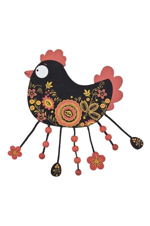 Украшение декоративное Сказочный петухСувениры и упаковка<br>15*12см, дерево, черно-красное<br>