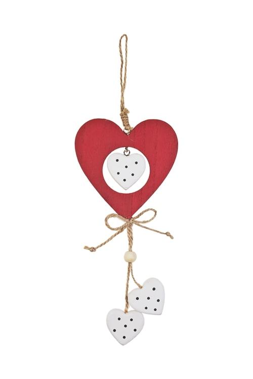 Украшение декоративное СердцаСувениры и упаковка<br>23*10см, дерево, красно-белое, подвесное<br>