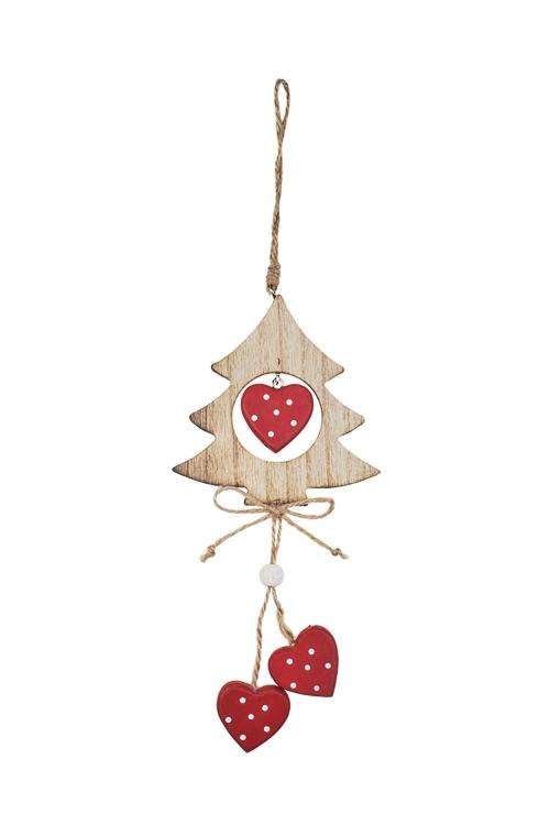 Украшение декоративное Елочка с сердцамиСувениры и упаковка<br>23*11см, дерево, крем.-красное, подвесное<br>