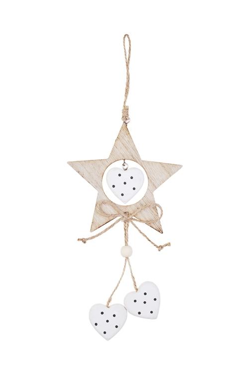 Украшение декоративное Звезда с сердцамиДекоративные гирлянды и подвески<br>23*11см, дерево, крем.-белое, подвесное<br>