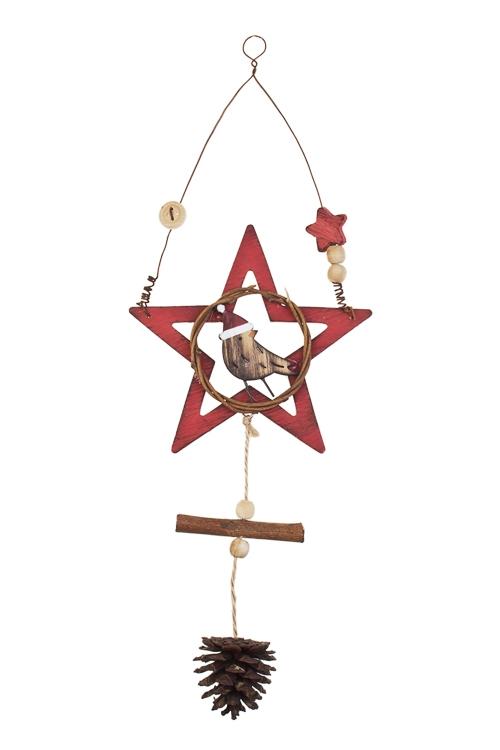 Украшение декоративное Звездочка с птичкойСувениры и упаковка<br>30*12см, дерево, красно-коричн., подвесное<br>