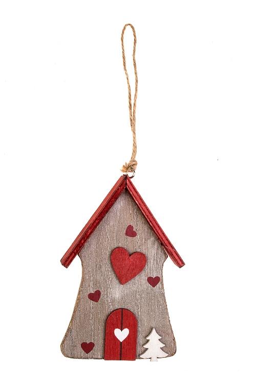Украшение декоративное Домик в лесуДекоративные гирлянды и подвески<br>8*12см, дерево, серо-красное, подвесное<br>