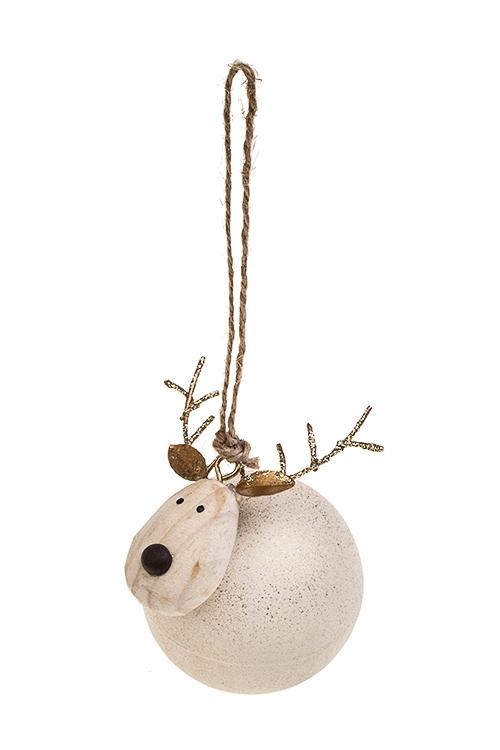 Украшение декоративное Милый оленьСувениры и упаковка<br>7.5*8.5см, дерево, металл, крем.-золот., подвесное<br>
