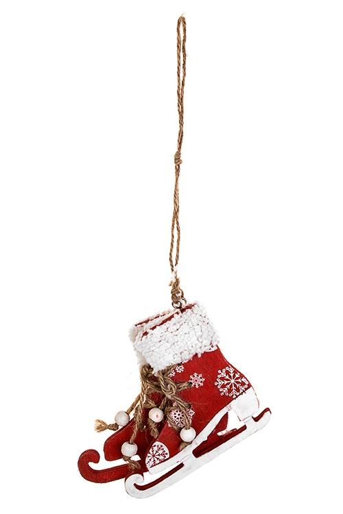 Украшение декоративное КонькиСувениры и упаковка<br>11*10см, дерево, красно-белое, подвесное<br>