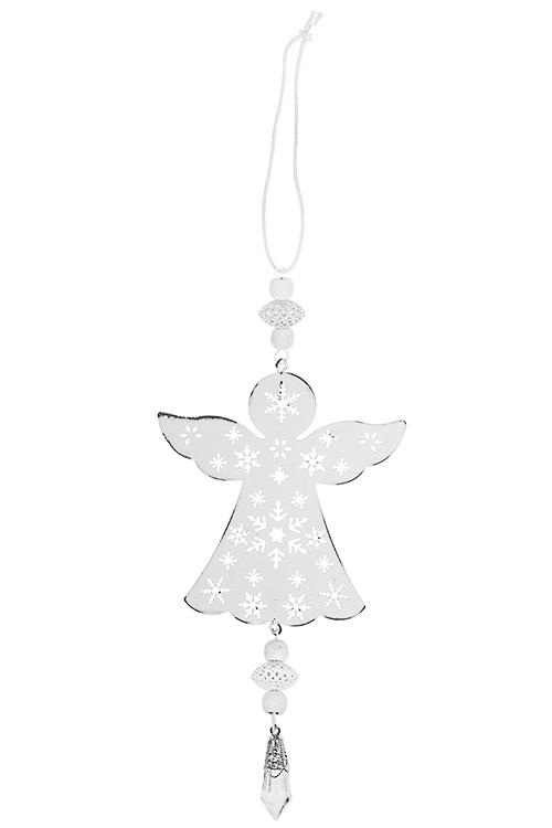 Украшение декоративное Нежный ангелСувениры и упаковка<br>10*22см, металл, бело-серебр., подвесное<br>