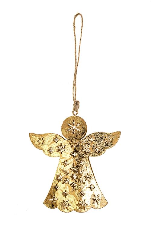 Украшение декоративное Ангел со снежинкамиДекоративные гирлянды и подвески<br>Выс=11см, металл, золот., подвесное<br>