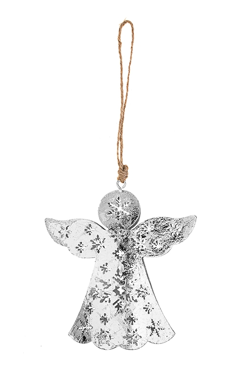 Украшение декоративное Ангел со снежинкамиСувениры и упаковка<br>Выс=11см, металл, серебр., подвесное<br>