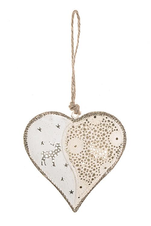 Украшение декоративное Рождественское сердцеСувениры и упаковка<br>Выс=9см, металл, крем.-золот., подвесное<br>