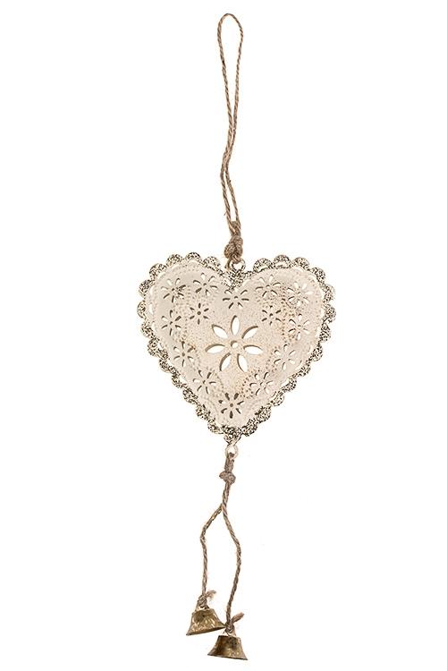 Украшение декоративное Сердце в цветахСувениры и упаковка<br>Выс=19см, металл, крем.-золот., подвесное<br>