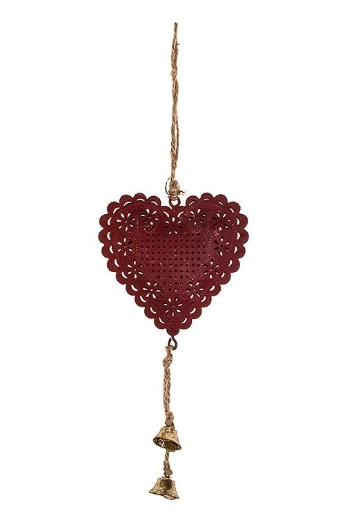 Украшение декоративное Сердце в цветахСувениры и упаковка<br>Выс=19см, металл, красное, подвесное<br>