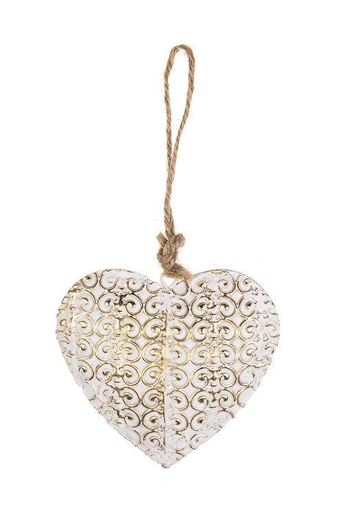 Украшение декоративное Сердце в вензеляхДекоративные гирлянды и подвески<br>Выс=8см, металл, бело-золот., подвесное<br>