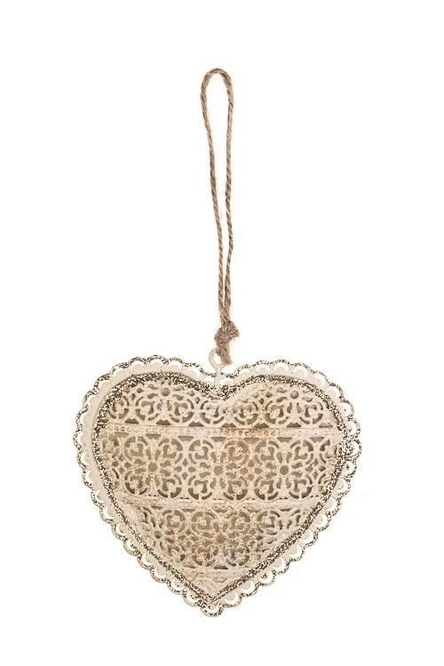 Украшение декоративное Цветочное сердцеСувениры и упаковка<br>Выс=9см, металл, крем.-золот., подвесное<br>