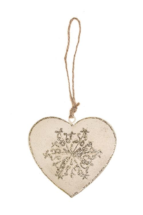 Украшение декоративное Сердце со снежинкойСувениры и упаковка<br>Выс=8см, металл, крем.-золот. подвесное<br>