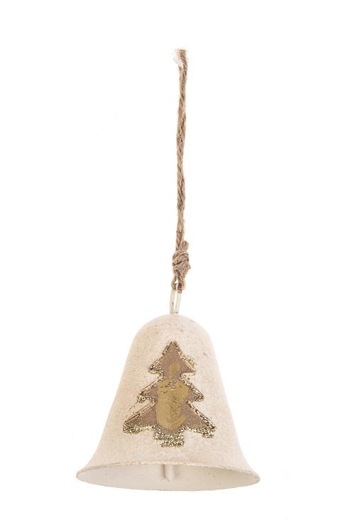 Колокольчик декоративный Золотая елочкаСувениры и упаковка<br>Выс=7.5см, металл, крем.-золот., подвесной<br>