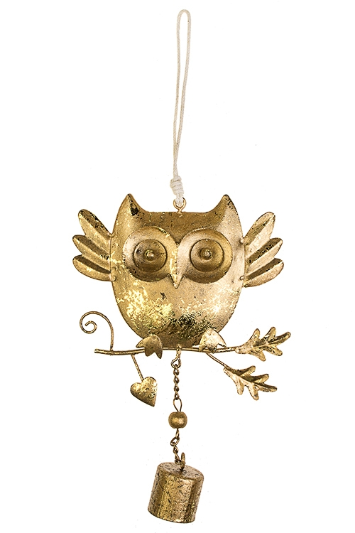 Украшение декоративное Удивленная соваСувениры и упаковка<br>18*11см, металл, золот., подвесное<br>
