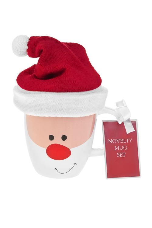 Набор подарочный новогодний Дед Мороз в шапочкеПосуда<br>(кружка 350мл, чай черный)<br>