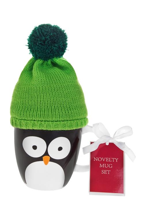 Набор подарочный новогодний Пингвин в шапочкеКружки<br>(кружка 350мл, чай черный)<br>