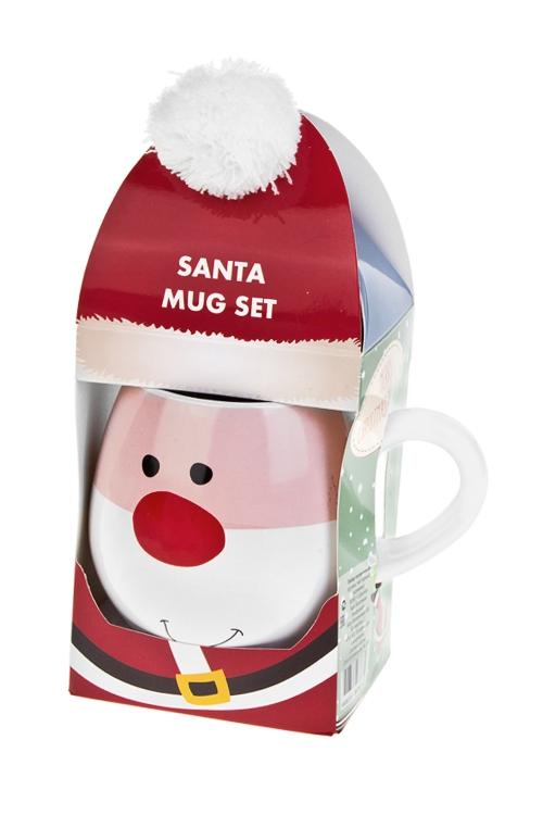 Набор подарочный новогодний Дед Мороз с помпономПосуда<br>(кружка 400мл, чай черный), в коробке<br>