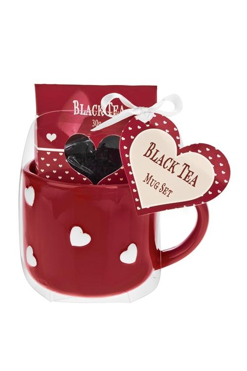 Набор подарочный Милые сердечкиПосуда<br>(кружка 500мл, чай черный)<br>
