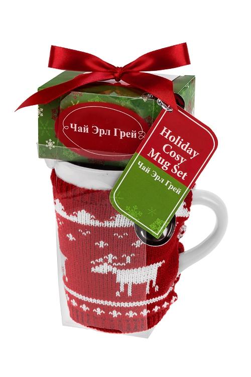 Набор подарочный новогодний Вязаный оленьНаборы кружек<br>Кружка керам. 400мл, чай Эрл Грей<br>