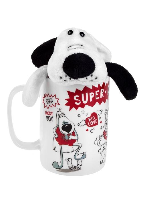 Набор подарочный СуперпесКружки<br>Керам., текстиль (кружка 350мл, игрушка)<br>