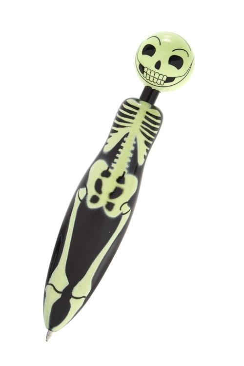 Ручка шариковая Улыбающийся скелетУчеба и работа<br>Дл=12см, пластм.<br>
