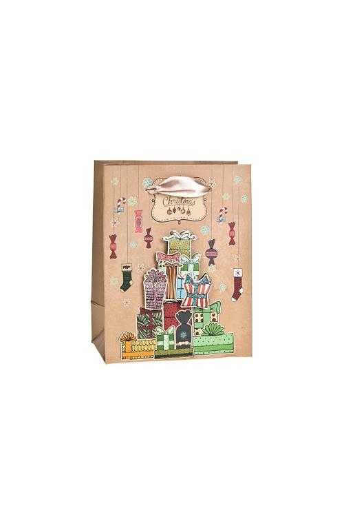 Пакет подарочный новогодний ПодаркиСувениры и упаковка<br>11*6.5*14см, бум., матовый, с декором<br>